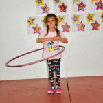 Showing off some hula-hooping skills