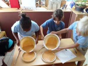 Making pumpkin pies as part of a cultural celebration.