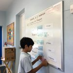 A student builds a sentence, in which he says and writes in which countries we speak certain languages.